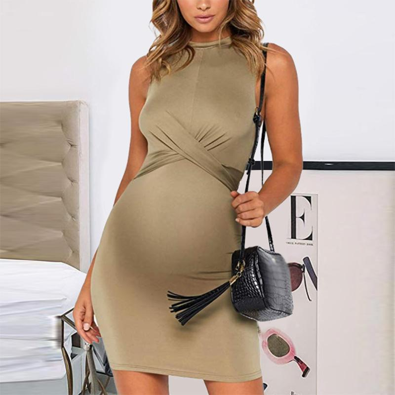 Maternity Casual Pure Color Sleeveless Dress