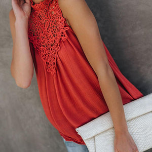 Maternity Lace Pure Color Sleeveless Top