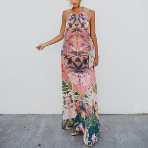 Maternity Printed Bare Back Belted Dress