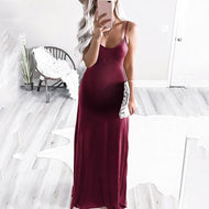 Maternity Casual Deep V-Neck Sleeveless Pure Color Tight Dress