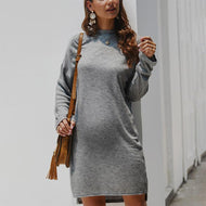 Maternity Pure Color Long Sleeve Slit Dress