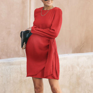 Maternity Casual Round Neck Belted Dress