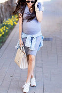 Gray  Maternity  Midi Dress