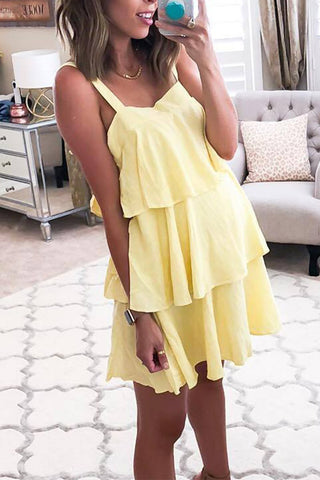 Fashion Plain Sleeveless Mini Dress