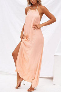 Maternity Bohemian Beach Dress With A Halter, Halter And Slit