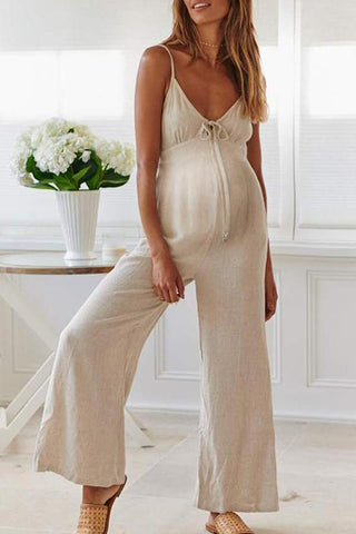 Maternity Fashion Casual Solid Color V-Neck Sling Jumpsuit