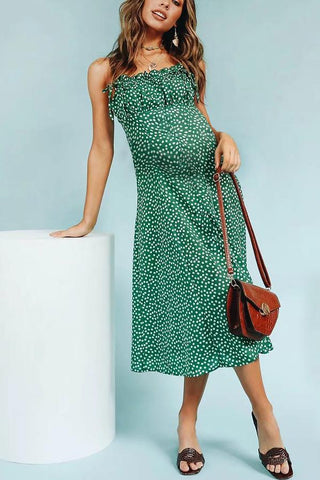 Maternity Wooden Ear Strap Sash Floral Dress