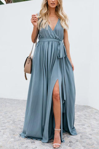 Maternity V-Neck Sleeveless Maxi Dress