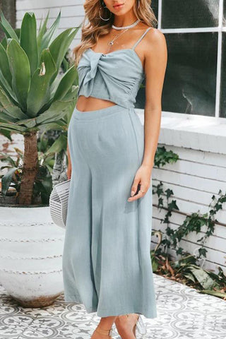 Maternity Plain Strapless Backless Loose Jumpsuit