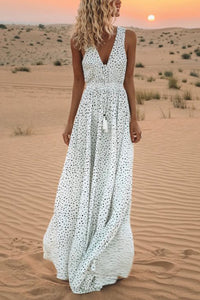 V-Neck Printed Polka Dot Bohemian Maxi Dress