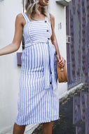 Maternity Striped Cardigan Halter Dress