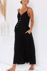 Maternity Plain V-Neck Spaghetti Strap Button Jumpsuit