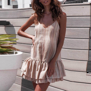 Maternity Colored Vertical Stripes Ruffled Strap Dress