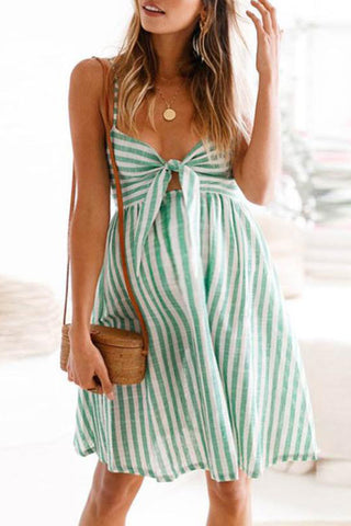Maternity Stripe Bowknot Backless Daily Dress