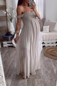 Maternity Sexy One-Word Mesh Maxi Dress