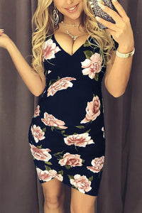 Maternity V-Neck Printing Bodycon Dress