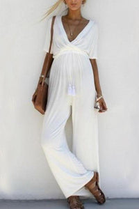 Maternity Solid Color V-Neck Belted Waist Jumpsuit