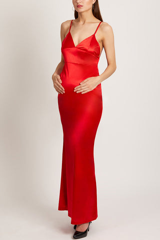 Maternity Red Plain Sleeveless Evening Dress