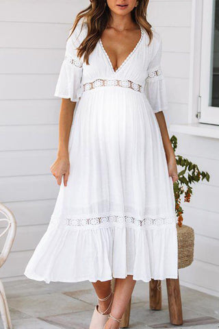 Maternity Deep V-Neck Flare Sleeve Midi Dress