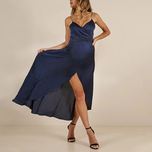 Maternity Sexy V-Neck Sling Strap Plain Formal Dress