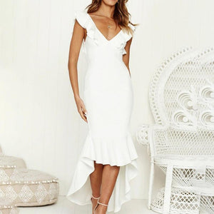Maternity Sexy V-Neck Ruffle Backless Formal Dress
