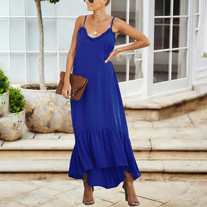 Maternity Solid Color V-Neck Maxi Dress