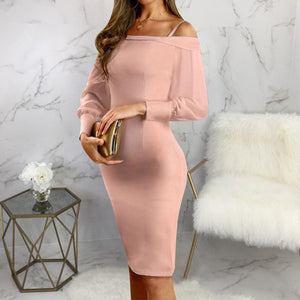Maternity Fashion Business Wear Word Collar Long Sleeve Slim Bag Hip Dress
