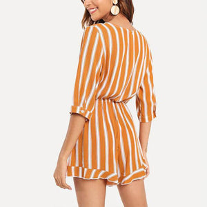 Maternity Stripe Half Sleeve Jumpsuit