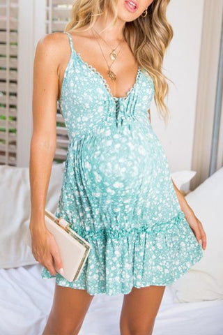 Maternity Spaghetti Strap Floral Daily Dress