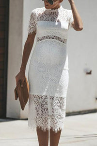 Maternity O-Neck Hollow Lace Dress