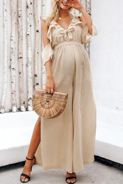Maternity Sexy Pure Color Belted Jumpsuit