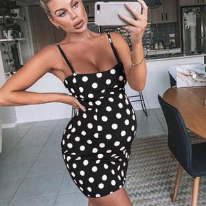 Maternity Spaghetti Strap Polka-Dot Dress