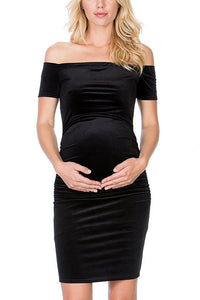 Maternity Solid Color Off Shoulder Casual Dress