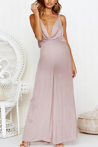 Maternity Plain Deep V Neck Backless Sling Strap Loose Jumpsuit