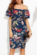 Maternity Sexy Off The Shoulder Print Bodycon Dress