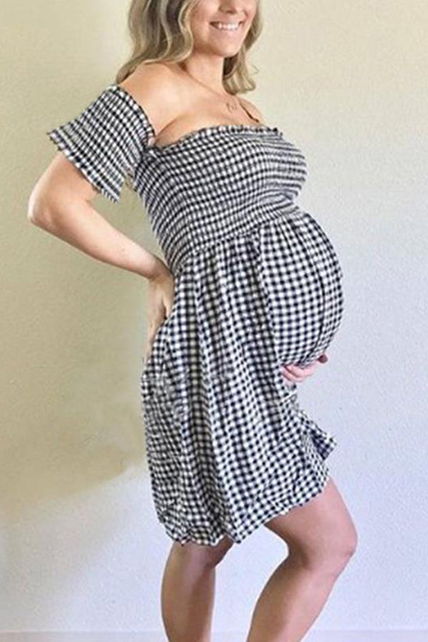 Maternity Off The Shoulder Plaid Dress