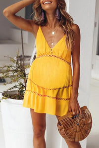 Maternity Plain Backless Spaghetti Strap Daily Dress