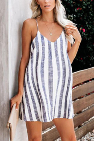 Maternity Loose Spaghetti Strap Stripe Skirt