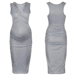 Maternity Plain Sleeveless Deep V Bodycon Dress