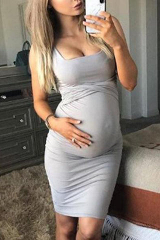Maternity Solid Color Sheath Midi Dress