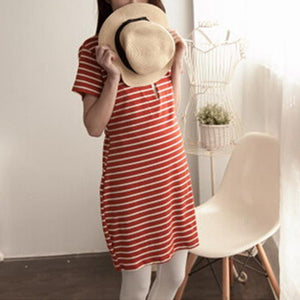 Maternity Nursing & Feeding Stripe Short Sleeve Dress