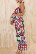 Maternity Floral Print Strapless Jumpsuits
