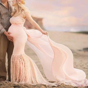 Maternity Lace Off Shoulder Floor Length Gown For Photography