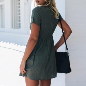 Maternity Casual V-Neck Single-Breasted Short Sleeve Dress