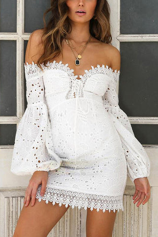Maternity Off Shoulder Lace Embroidery Above Knee Dress