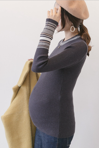 Maternity Stripes Decorated Long Sleeve Tee