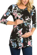 Maternity Floral Print Round Collar Long Sleeve T-Shirt