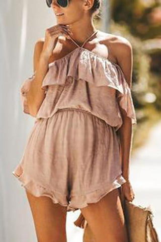 Maternity Solid Colour Romper With Ruffled Hem And Halter Back