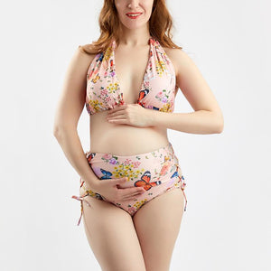 Maternity Sexy Split Butterfly Print With High Waist Bikini