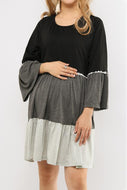 Blue Patchwork Lace Circular Collar Pagoda Sleeve Maternity Dress
